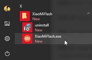Mi Flash Tool on start menu