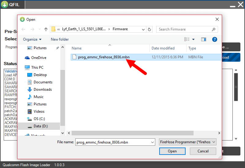 qfil locate and select mbn file